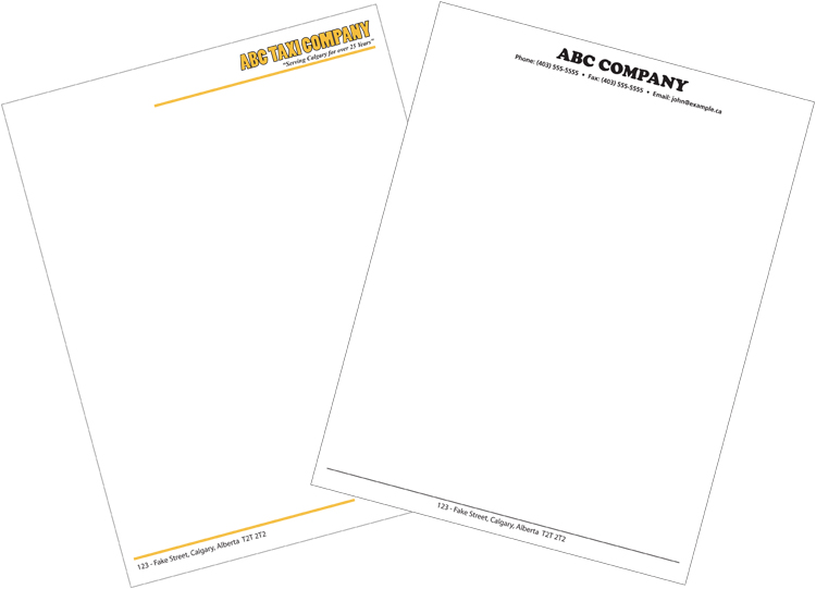 Company & Business Letterhead Printing Services In Calgary